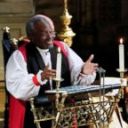 The Most Rev Bishop Michael Curry, primate of the Episcopal Church, gives an address during the wedding of Prince Harry and Meghan Markle in St George's Chapel at Windsor Castle in Windsor, May 19, 2018.