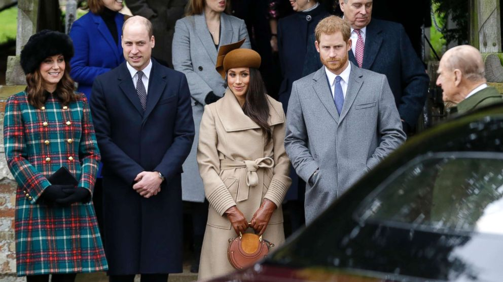 From left, Kate, Duchess of Cambridge, Prince William, Meghan Markle, Prince Harry and Prince Philip arrive to the traditional Christmas Days service, at St. Mary Magdalene Church in Sandringham, England, Dec. 25, 2017.