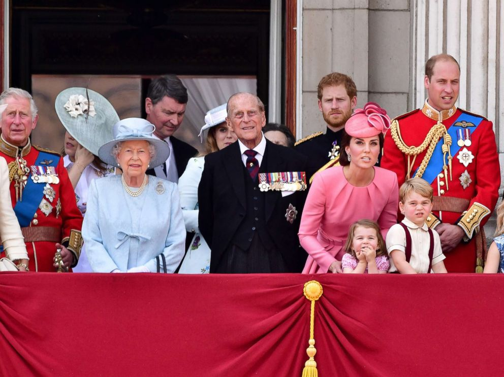 PHOTO: Prince Charles, Queen Elizabeth II, Vice Admiral Timothy Laurence, Prince Philip, Duke of Edinburgh, Prince Harry, Catherine, Prince William, Princess Charlotte, Prince George stand on the balcony of Buckingham Palace, June 17, 2017, in London.