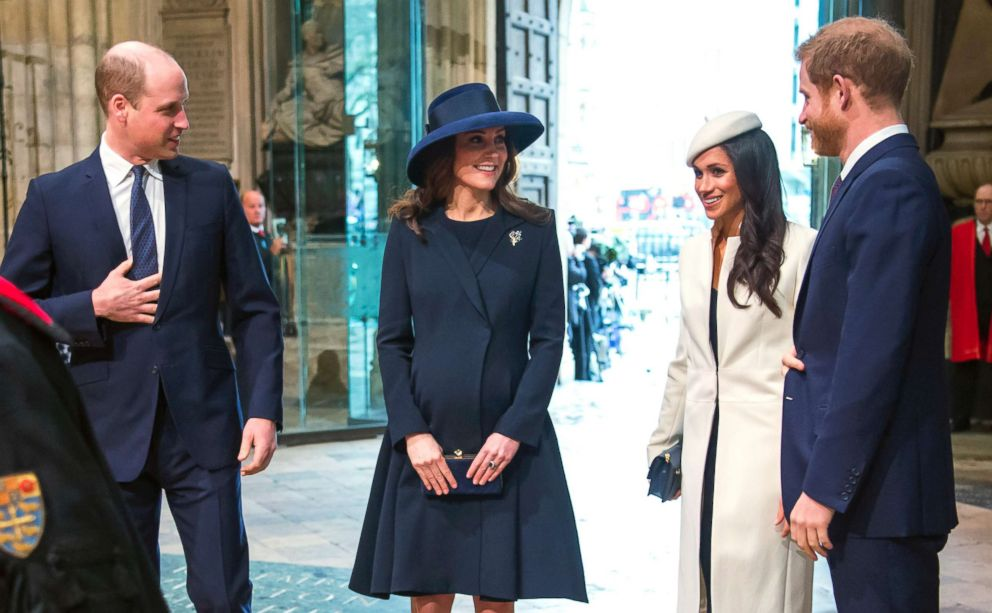 PHOTO: From left, Britains Prince William, Catherine, Duchess of Cambridge, Meghan Markle and Prince Harry arrive for the Commonwealth Service at Westminster Abbey, London, March 12, 2018.