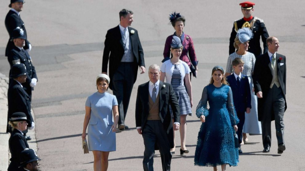 Princess Eugenie, Prince Andrew, Duke of York and Princess Beatrice and Princess Anne, Princess Royal (rear) attend the wedding of Prince Harry to Ms Meghan Markle at St George's Chapel, Windsor Castle, May 19, 2018, in Windsor, England.