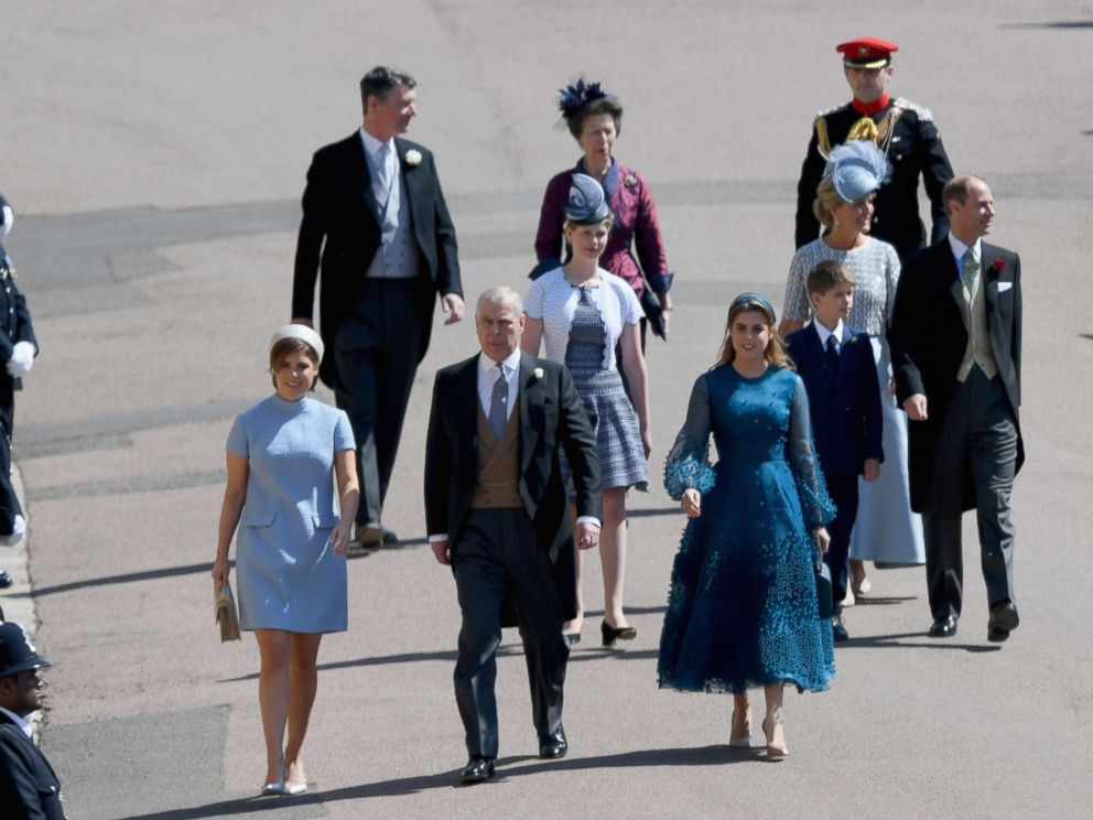 PHOTO: Princess Eugenie, Prince Andrew, Duke of York and Princess Beatrice and Princess Anne, Princess Royal (rear) attend the wedding of Prince Harry to Ms Meghan Markle at St Georges Chapel, Windsor Castle, May 19, 2018, in Windsor, England.