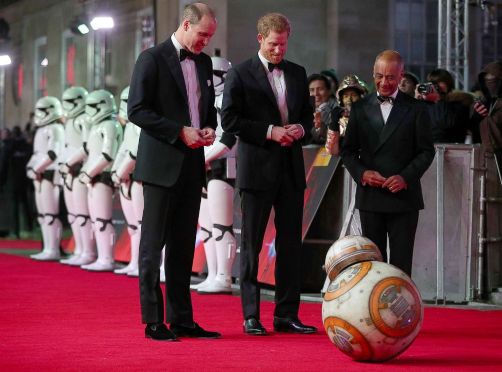 PHOTO: Prince William and Prince Harry, arrive for the European Premiere of Star Wars: The Last Jedi, at the Royal Albert Hall in central London, Dec. 12, 2017.