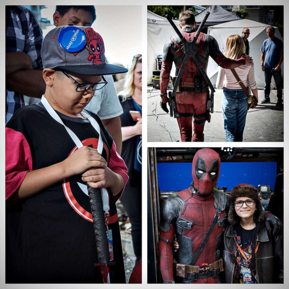 """Ryan Reynolds posted photos to Instagram with the caption, """"One of the best parts of playing the Big Red Jackass is welcoming Make A Wish America and Children's Wish Foundation onto set. Deadpool kicked Cancer in the taint, but these kids do it for real every day."""" on Feb. 19, 2018."""
