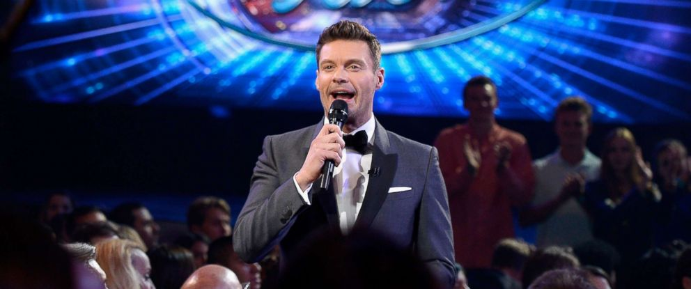 "PHOTO: Ryan Seacrest speaks in the audience during FOXs ""American Idol"" finale at Dolby Theatre on April 7, 2016 in Hollywood, Calif."