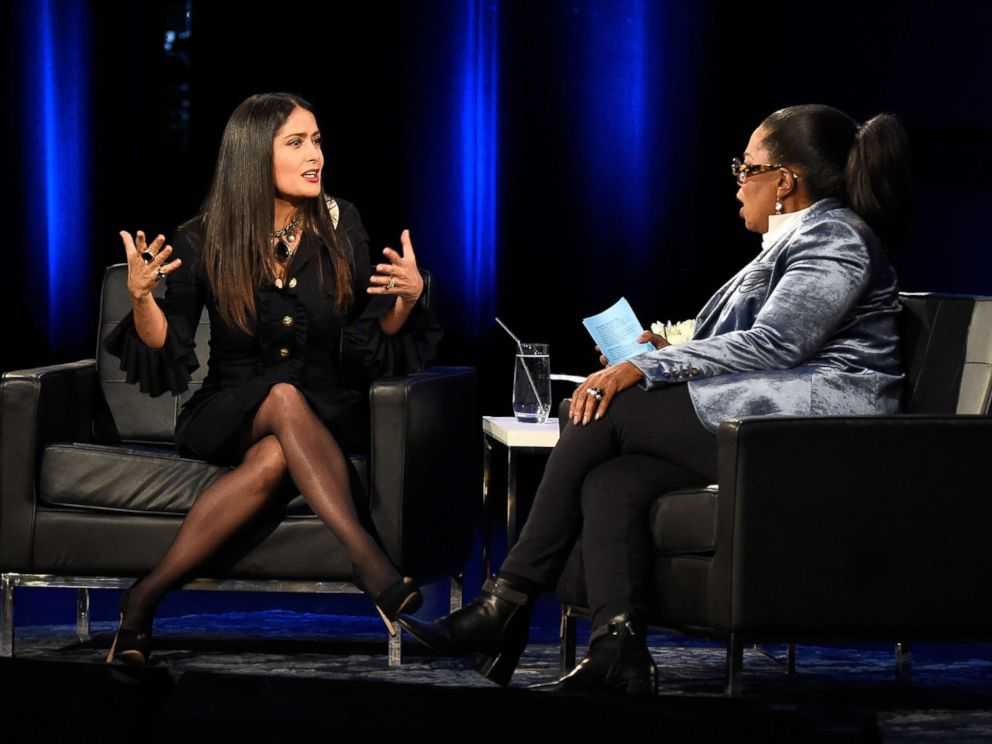 PHOTO: Salma Hayek and Oprah speak onstage during Oprahs Super Soul Conversations at The Apollo Theater on Feb. 7, 2018 in New York.