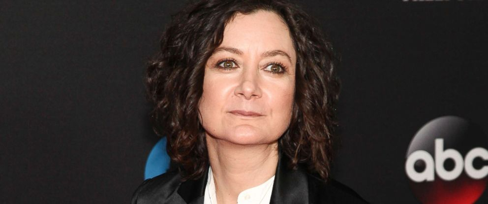 PHOTO: Sara Gilbert attends the Disney/ABC/Freeform 2018 Upfront Party in New York, May 15, 2018.