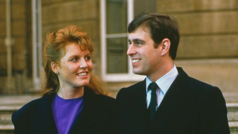 Prince Andrew with Sarah Ferguson at Buckingham Palace after the announcement of their engagement, London, March 17, 1986.