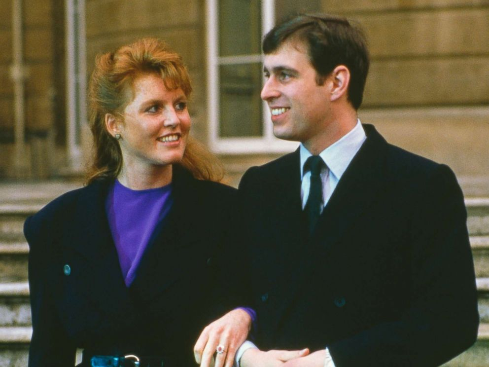 PHOTO: Prince Andrew with Sarah Ferguson at Buckingham Palace after the announcement of their engagement, London, March 17, 1986.