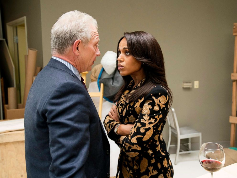 PHOTO: Jeff Perry as Cyrus Beene and Kerry Washington as Olivia Pope in a scene from Scandal.