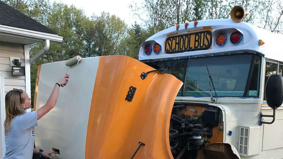 Andrew and Steph MacArthur converted a school bus into a RV.