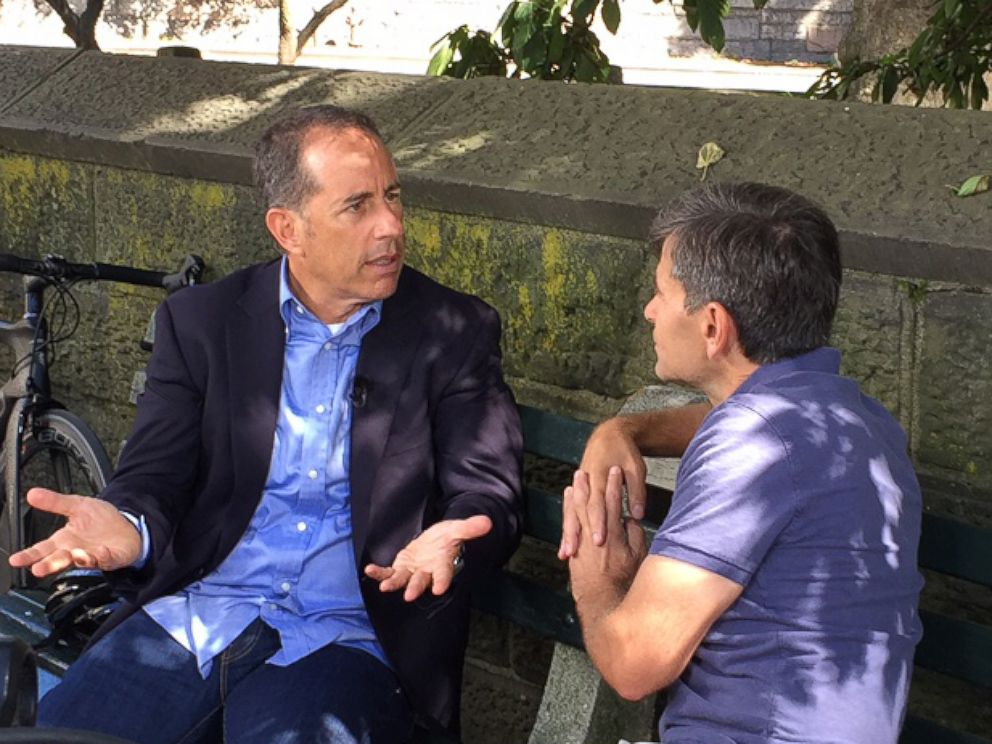 PHOTO: Comedian Jerry Seinfeld discusses his new Netflix special in an interview with ABC News chief anchor George Stephanopoulos.