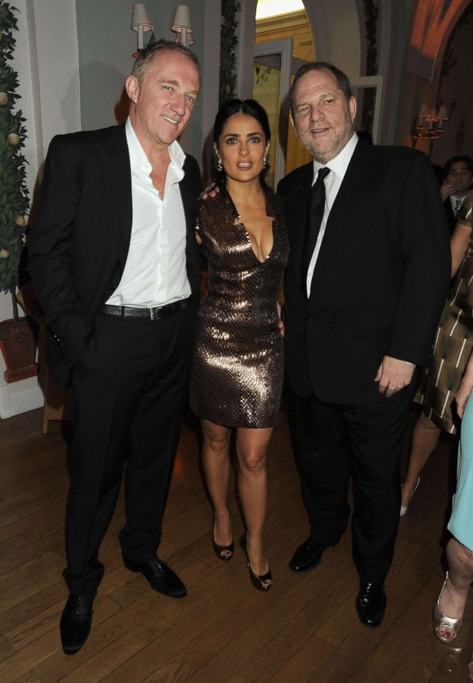 PHOTO: François-Henri Pinault, Salma Hayek and Harvey Weinstein attend the Vanity Fair and Gucci Party Honoring Martin Scorsese during the 63rd Annual Cannes Film Festival at the Hotel Du Cap Eden Roc, May 15, 2010 in Cannes, France.