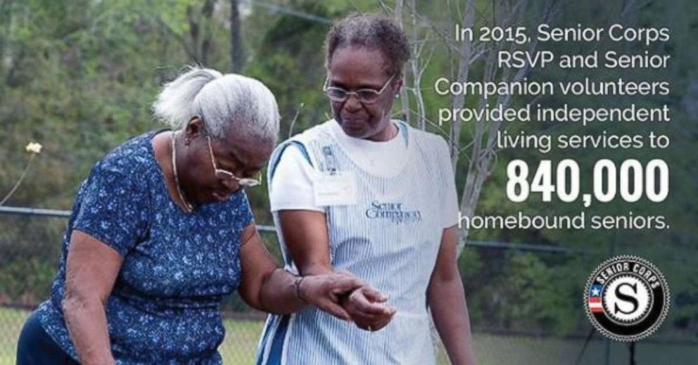 PHOTO: The Corporation for National & Community Service have a Senior Corps, where seniors volunteer to get out of the house or they are also connected with college students to combat loneliness.