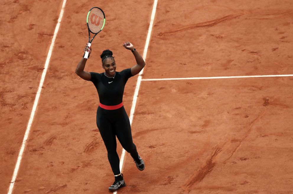 PHOTO: Serena Williams celebrates victory during the ladies singles third round match against Julia Georges of Germany during day seven of the 2018 French Open at Roland Garros, June 2, 2018, in Paris.