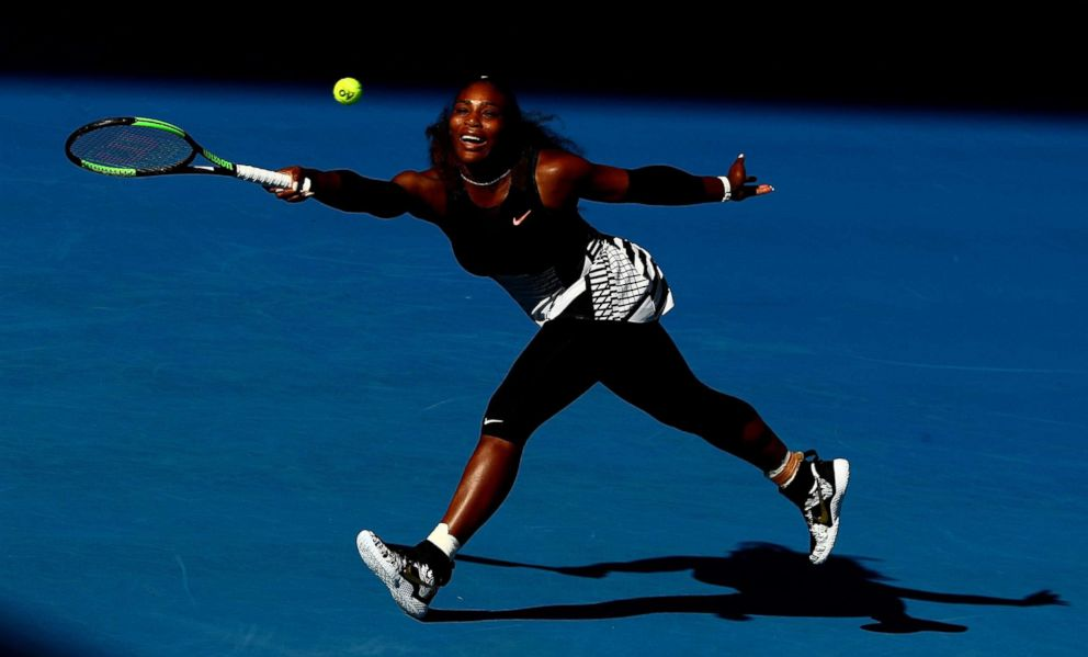 PHOTO: Serena Williams of the United States plays a forehand in her semifinal match against Mirjana Lucic-Baroni of Croatia on day 11 of the 2017 Australian Open at Melbourne Park, Jan. 26, 2017 in Melbourne, Australia.