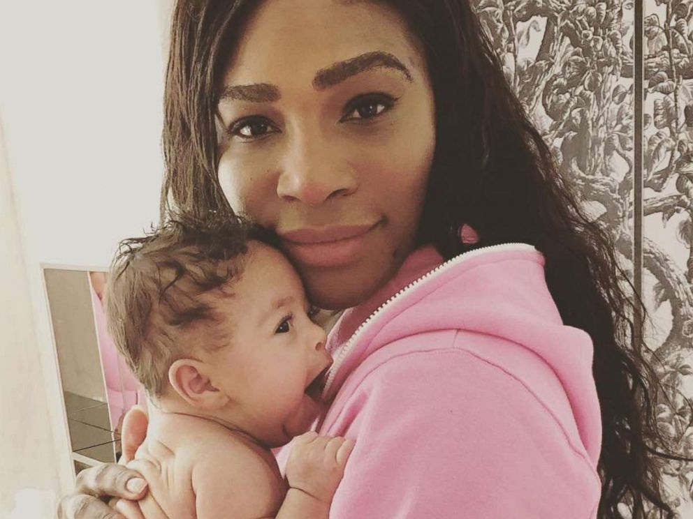 PHOTO: Serena Williams poses with her newborn daughter Alexis Olympia Ohanian Jr. in a photo posted to her Instagram on Nov. 6, 2017.