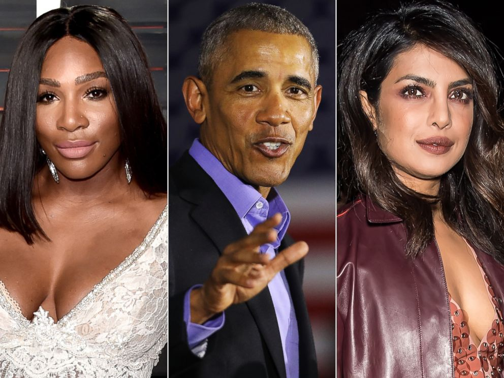 PHOTO: In these file photos, Serena Williams poses Feb. 28, 2016, Barack Obama speaks Oct. 19, 2017 and Priyanka Chopra is seen Feb. 9, 2018.