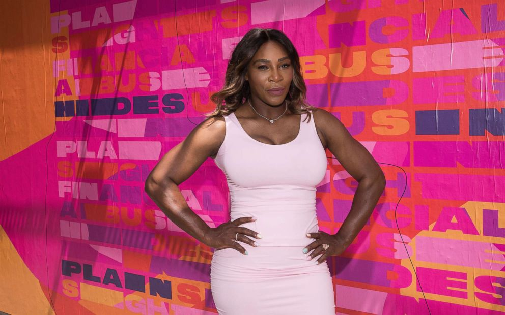 PHOTO: Serena Williams appears at an event to launch a national street art campaign with Allstate Foundation Purple Purse to make domestic violence and financial abuse visible, at TicTail Market, June 20, 2018, in New York.