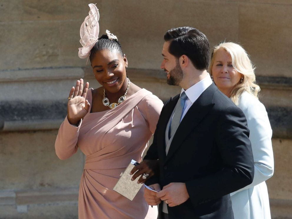 PHOTO: Serena Williams and her husband Alexis Ohanian arrive for the wedding ceremony of Prince Harry and Meghan Markle at St. Georges Chapel in Windsor Castle in Windsor, May 19, 2018.
