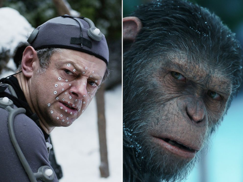 PHOTO: Andy Serkis on the set of Twentieth Century Foxs War for the Planet of the Apes. Right, Andy Serkis stars as Caesar in War for the Planet of the Apes.