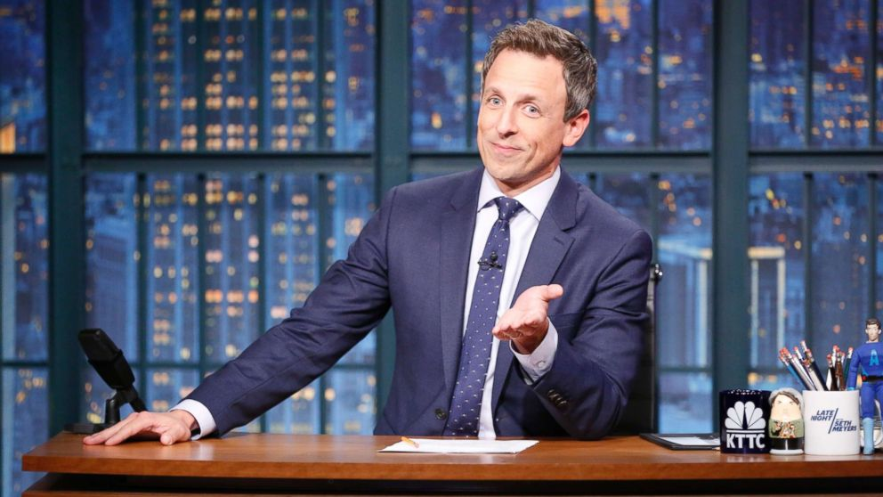 Host Seth Meyers during the monologue, Oct. 31, 2017.