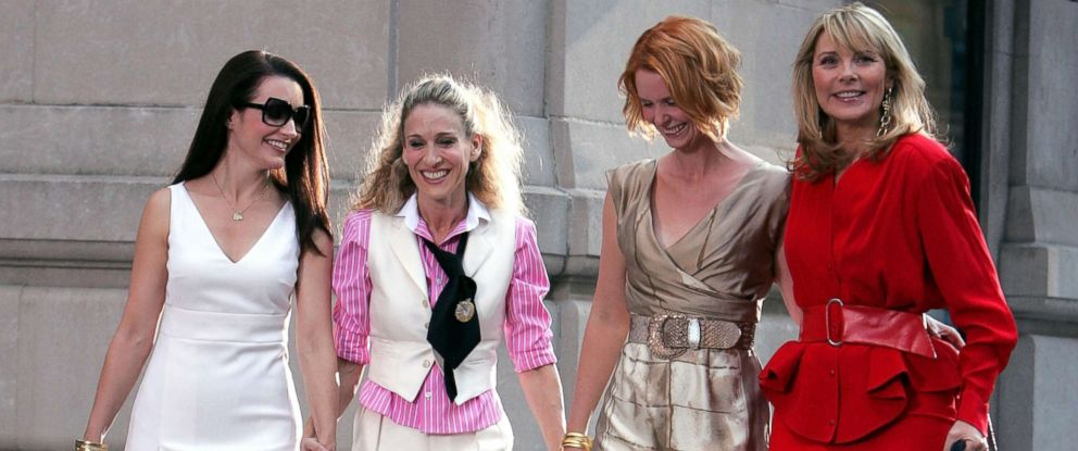 "PHOTO: Kristin Davis, Sarah Jessica Parker, Cynthia Nixon and Kim Cattrall on the set of ""Sex In The City: The Movie"" in New York City, Sept. 21, 2007."