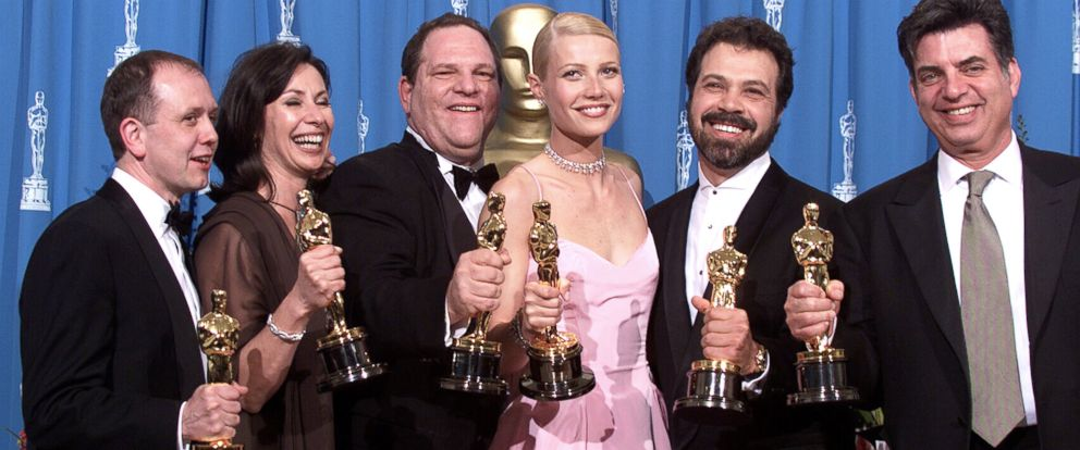 """PHOTO: """"Shakespeare in Love"""" Best Actress winner Gwyneth Paltrow (center) is joined by Harvey Weinstein (center left) and other stars as they celebrated their win of Best Picture at the 1999 Academy Awards in Hollywood, Calif., March 21, 1999."""