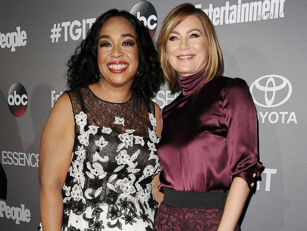 PHOTO: Producer Shonda Rhimes and actress Ellen Pompeo attend ABCs TGIT premiere event in this Sept. 26, 2015 file photo in West Hollywood, Calif.