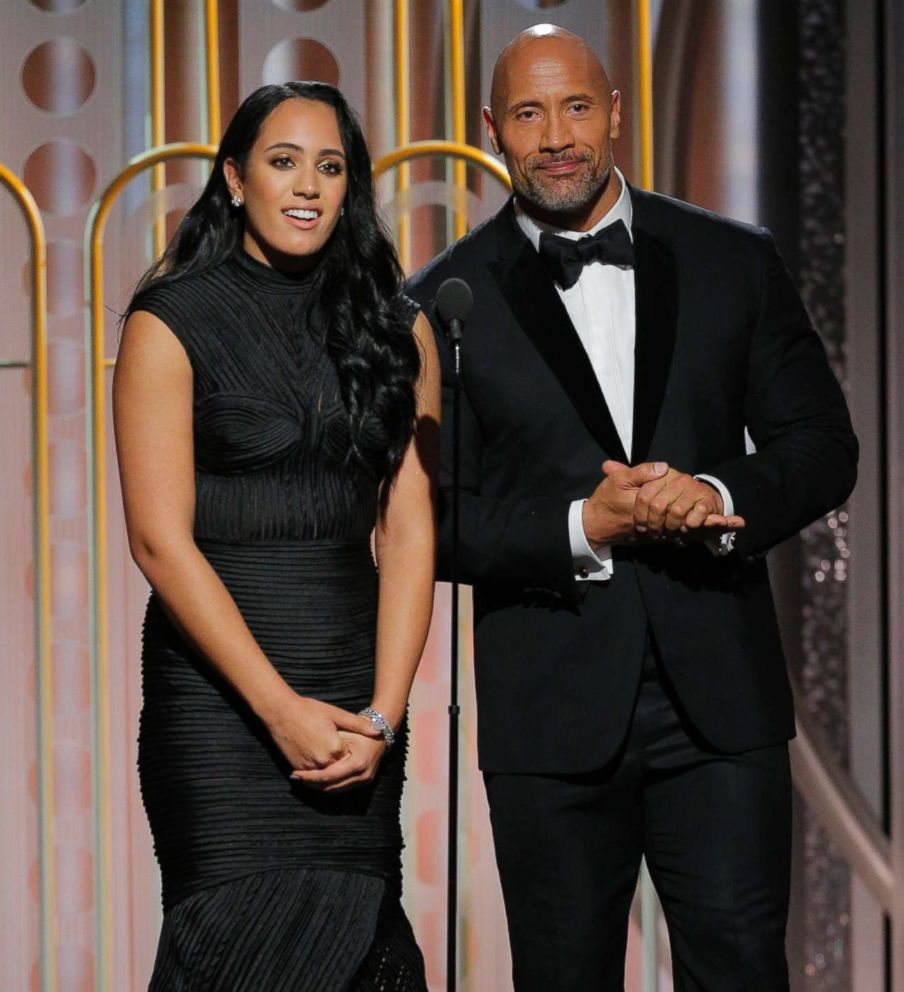 PHOTO: Golden Globe Ambassador Simone Garcia Johnson and her father Dwayne Johnson speak onstage during the 75th Annual Golden Globe Awards on Jan. 7, 2018 in Beverly Hills, Calif.