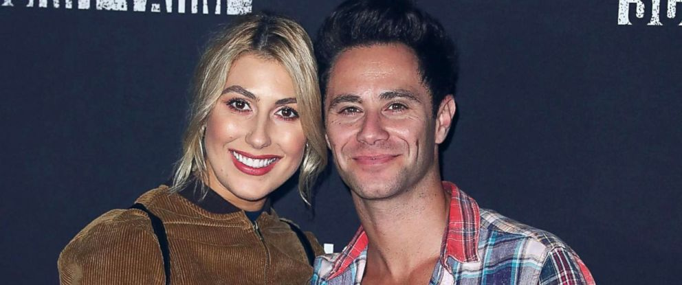 PHOTO: Emma Slater and Sasha Farber arrive at Knotts Berry Farm, Sept. 29, 2017, in Buena Park, Calif.