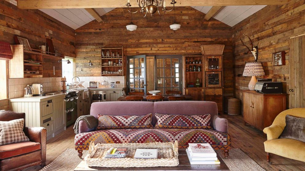 The interior of a cabin at Soho Farmhouse Oxfordshire is pictured here.