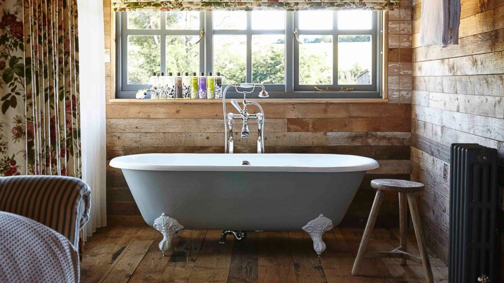 The bath inside a cabin at Soho Farmhouse Oxfordshire is pictured here.