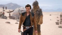"PHOTO: Alden Ehrenreich and Joonas Suotamo in a scene from ""Solo: A Star Wars Story."""