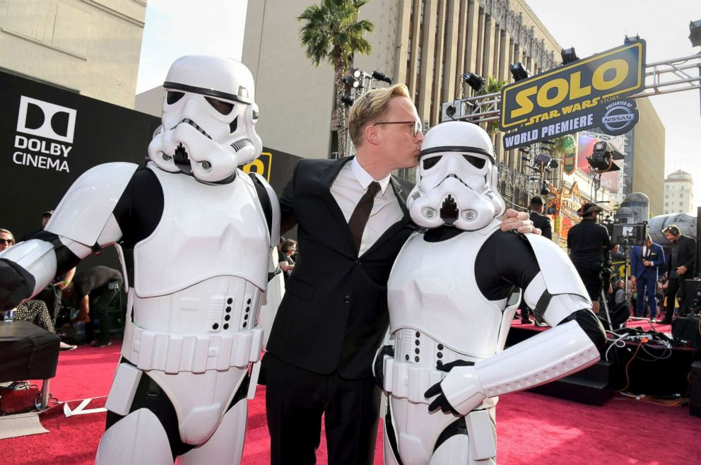 PHOTO: Actor Paul Bettany attends the world premiere of Solo: A Star Wars Story along with two stormtroopers in Hollywood, Calif., May 10, 2018.