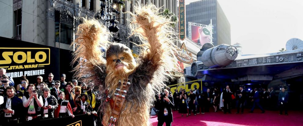 "PHOTO: Chewbacca attends the premiere of ""Solo: A Star Wars Story"" at the El Capitan Theatre on May 10, 2018 in Los Angeles."