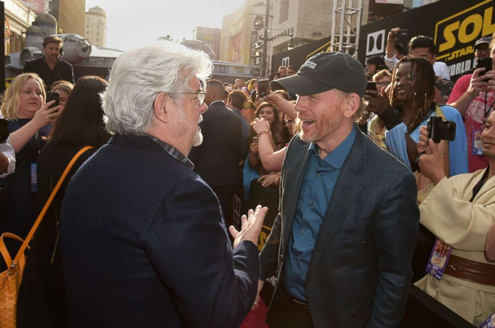 PHOTO: George Lucas and Ron Howard attend the premiere of Solo: A Star Wars Story at the El Capitan Theatre on May 10, 2018 in Hollywood, Calif.