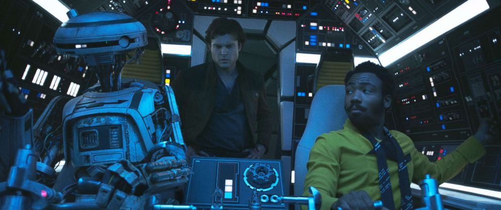 PHOTO: Alden Ehrenreich is Han Solo, Donal Glover is Lando Calrissian and Phoebe Waller-Bridge is L3-37 in Solo: A Star Wars Story, 2018.