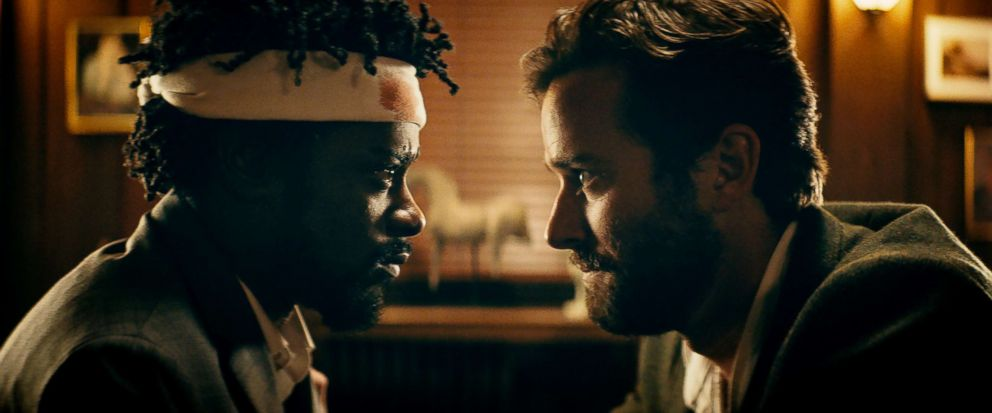 PHOTO: Lakeith Stanfield and Armie Hammer in a scene from Sorry to Bother You.
