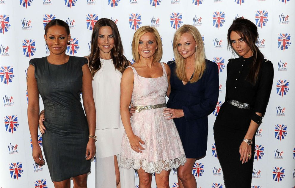 PHOTO: Melanie Brown, Melanie Chisholm, Geri Halliwell, Emma Bunton and Victoria Beckham of the Spice Girls attend launch of new musical based on the Spice Girls music on June 26, 2012 in London.