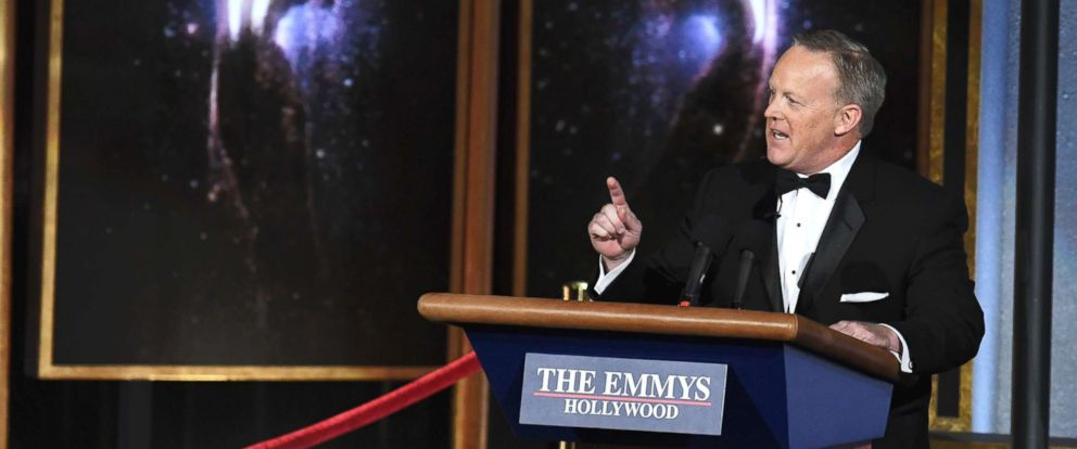 PHOTO: Former White House Press Secretary Sean Spicer speaks onstage during the 69th Annual Primetime Emmy Awards at Microsoft Theater on Sept. 17, 2017 in Los Angeles.