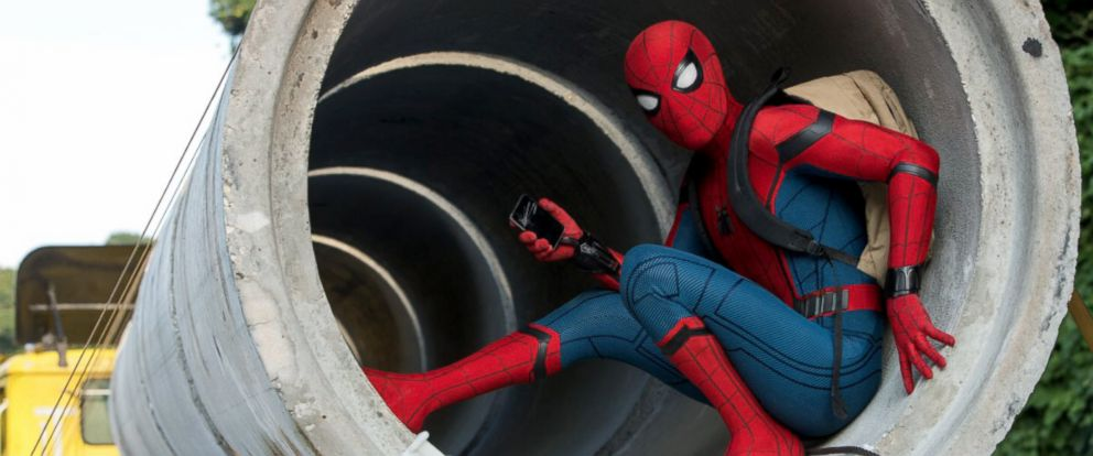"Spider-Man, as played by Tom Holland, in the film ""Spider-Man: Homecoming."""