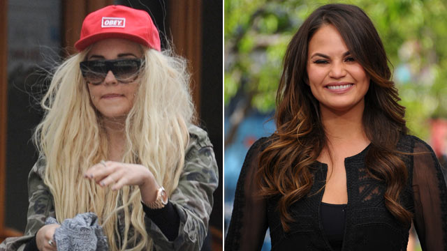 PHOTO: Amanda Bynes, left, is seen in New York on April 16, 2013. She recently insulted Chrissy Tiegen, seen right in Los Angeles on May 15, 2013, via Twitter.