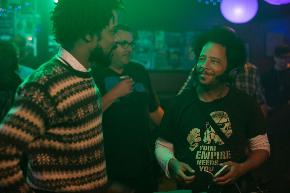 PHOTO: Lakeith Stanfield and director Boots Riley on the set of Sorry to Bother You.