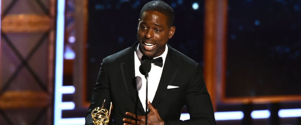 "PHOTO: Sterling K. Brown accepts the award for Outstanding Lead Actor in a Drama Series for ""This is Us"" onstage during the 69th Emmy Awards at the Microsoft Theatre, Sept. 17, 2017, in Los Angeles"