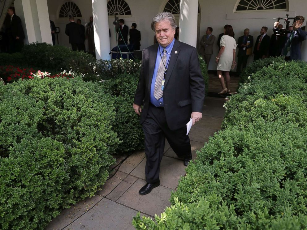 PHOTO: Senior Counselor to the President Steve Bannon walks into the Rose Garden before President Donald Trump announces his decision to pull out of the Paris climate agreement at the White House, June 1, 2017, in Washington.