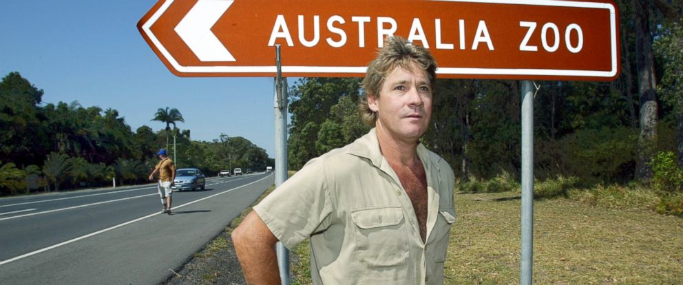 PHOTO: In this file photo, Crocodile Hunter Steve Irwin stands by the Australia Zoo sign at Beerwah on the Sunshine Coast, Sept. 26, 2003.