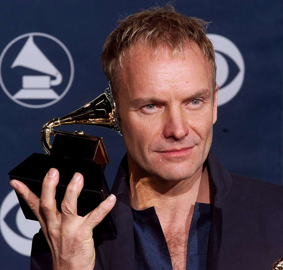 PHOTO: Sting holds his Grammy after winning for best male pop vocal performance for Brand New Day at the 42nd Annual Grammy Awards in Los Angeles, Feb. 23, 2000.