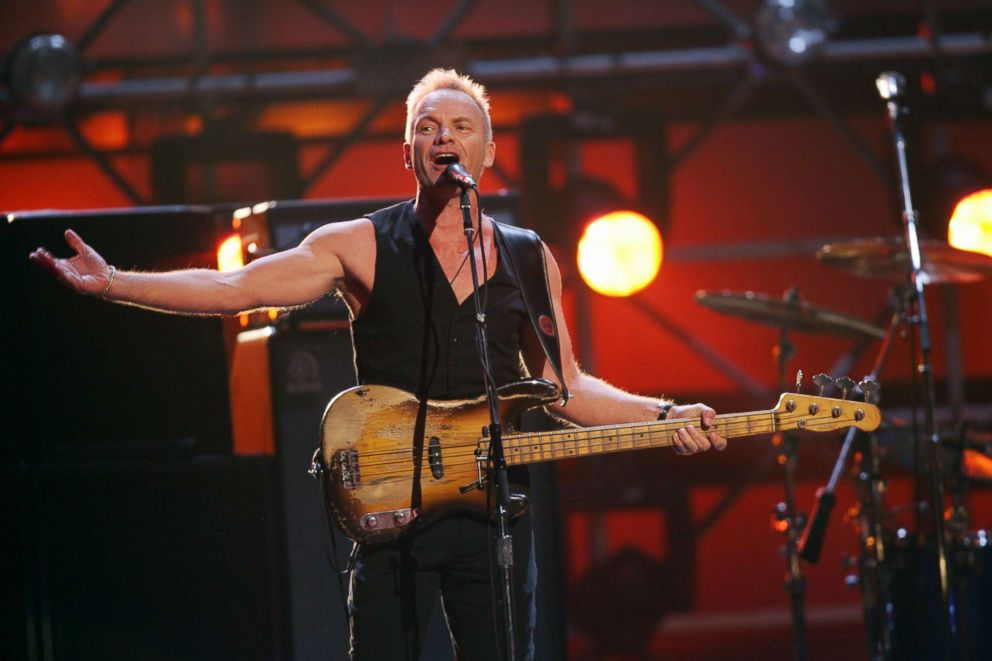 PHOTO: Sting of The Police performs during a reunion with drummer Stewart Copeland and guitarist Andy Summers at the opening of the 49th Grammy Awards in Los Angeles, Feb. 11, 2007.