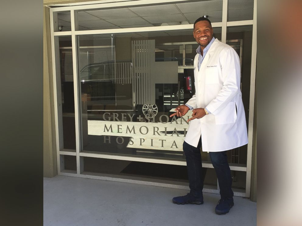 PHOTO: Good Morning America co-anchor Michael Strahan poses on the set of Greys Anatomy in California.
